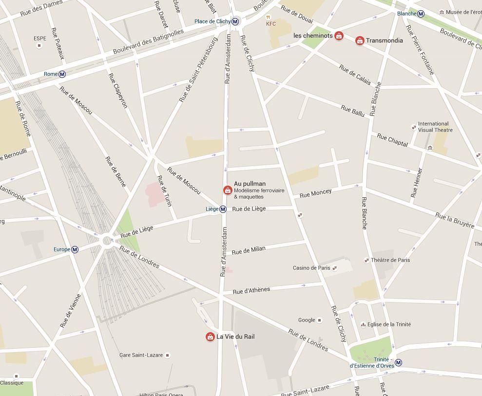 Plan magasins modélisme à Paris