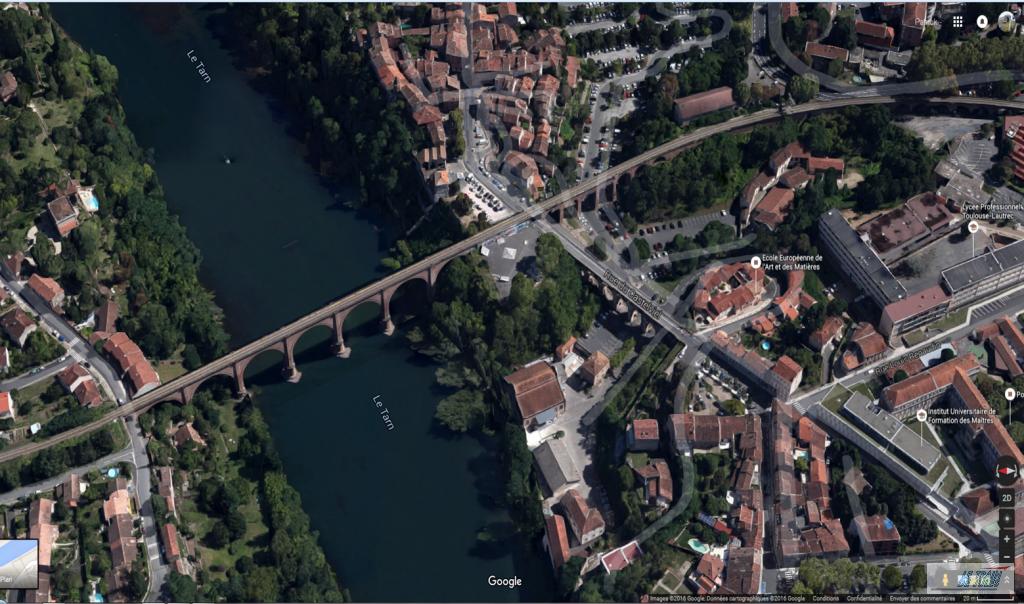 Viaduc Ferroviaire d'Albi vue aérienne. Vue aerienne - Google Earth