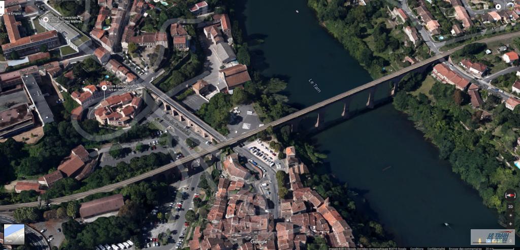 Vue aerienne viaduc Ferroviaire d'Albi - Google Earth