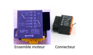 Le moteur lent MB5 et son connecteur.